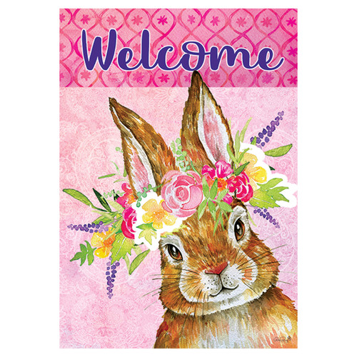 Easter Banner Flag - Bunny Wreath
