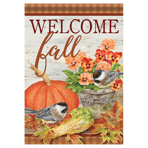 Carson Fall Banner Flag - Pumpkin & Pansies