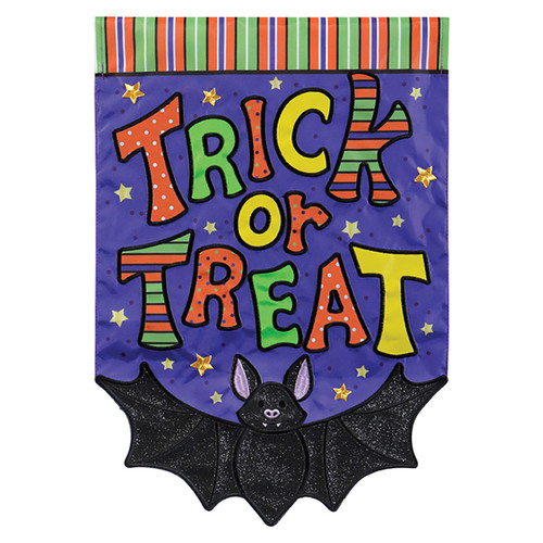 Carson Halloween Applique Garden Flag - Trick or Treat Bat