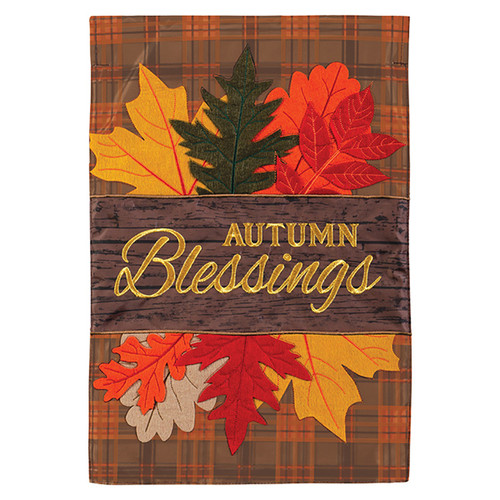 Carson Fall Applique Garden Flag - Autumn Blessing Leaves