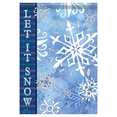Carson Winter Garden Flag - Snowflakes on Blue