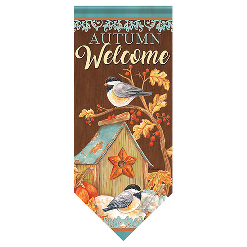 Carson Autumn Long Banner Flag - Chickadee Birdhouse