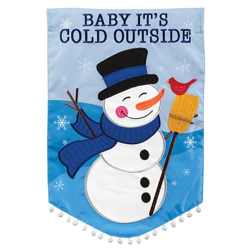Winter Applique Garden Flag - Cold Snowman