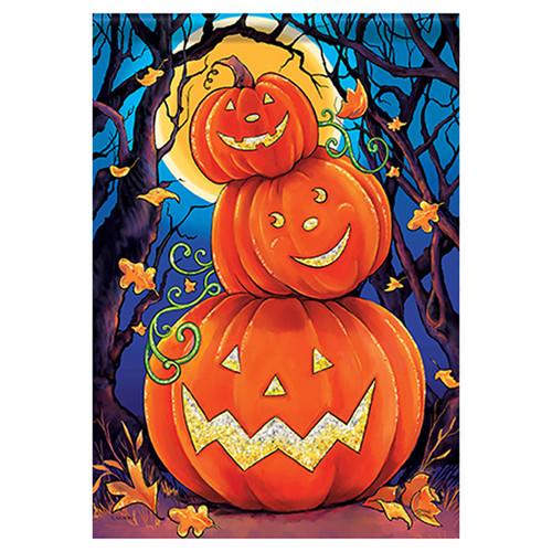 Carson Halloween Garden Flag - Happy Pumpkin Stack