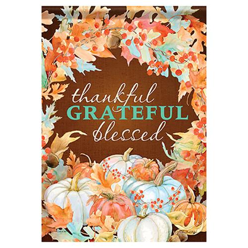 Carson Thanksgiving Banner Flag - Thankful Blessed