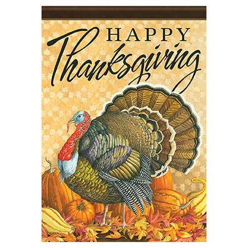 Thanksgiving Garden Flag - Turkey Greeting