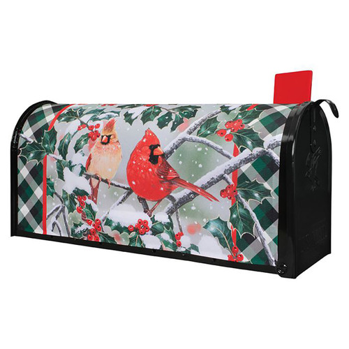 Christmas Mailbox Cover - Cardinals in Holly