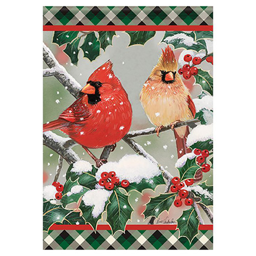 Carson Christmas Banner Flag - Cardinals in Holly