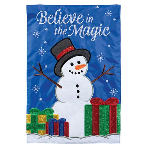 Carson Christmas Applique Garden Flag - Magic Snowman