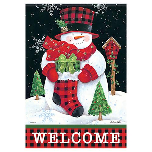 Carson Christmas Garden Flag - Gingham Snowman