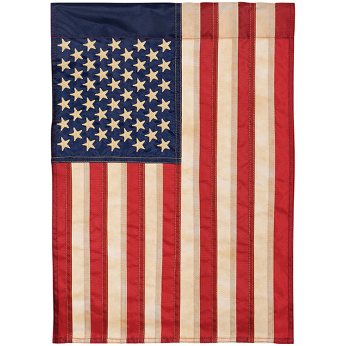 Carson Patriotic Applique Banner Flag - Tea Stained American Flag
