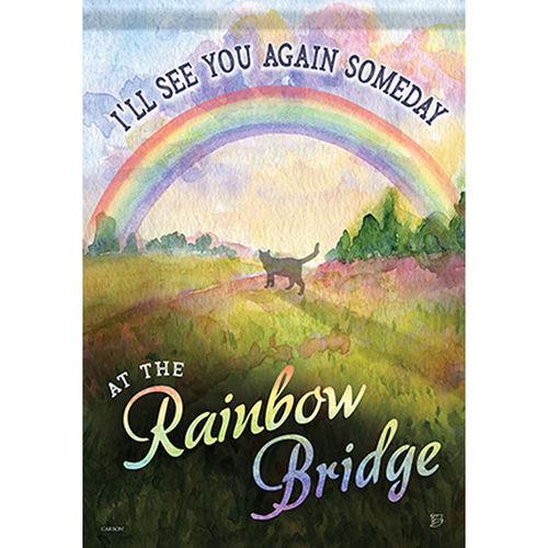 Pet Memorial Garden Flag - Rainbow Bridge Cat