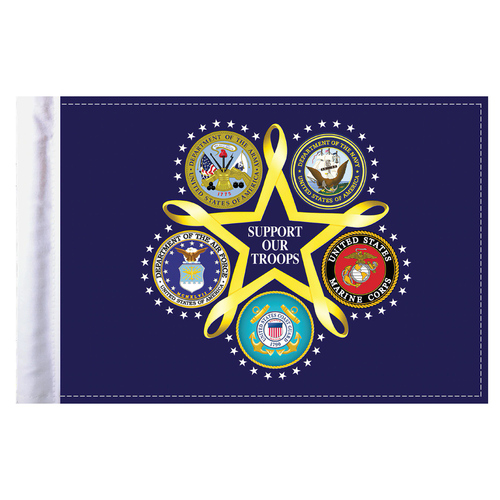 """Support Our Troops Motorcycle Flag - 6"""" x 9"""""""