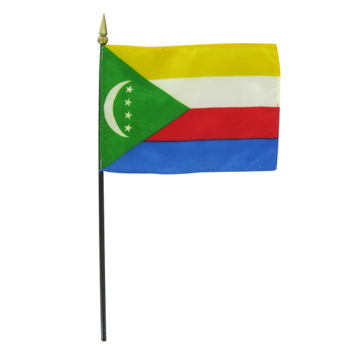 "Comoros 4"" x 6"" Stick Flag"