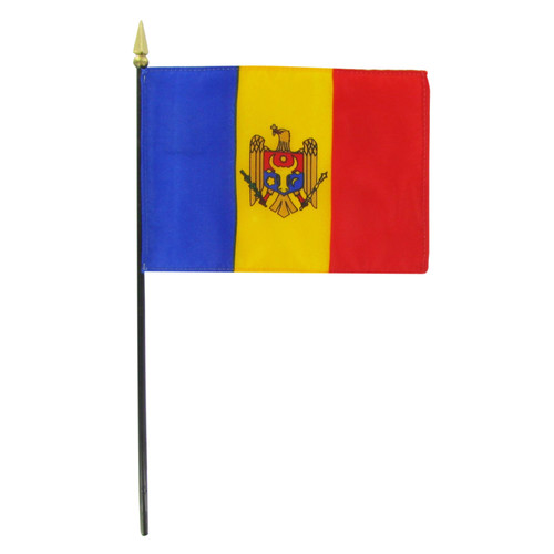 "Moldova 4"" x 6"" Stick Flag"