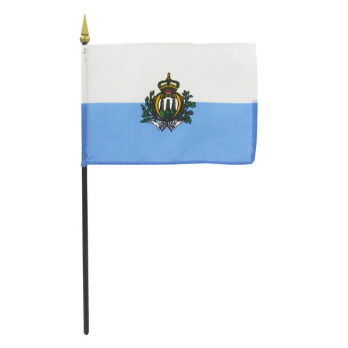"San Marino 4"" x 6"" Stick Flag With Seal"