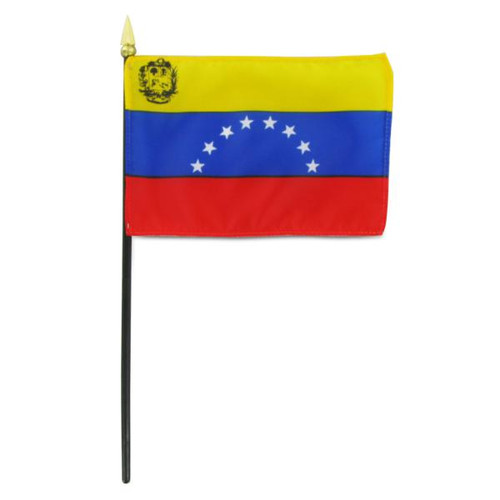 Venezuela 4in x 6in Stick Flag With Seal