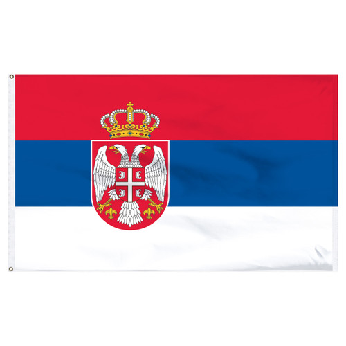 Serbia 5' x 8' Nylon Flag With Seal