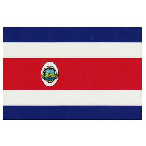 """Costa Rica 8"""" x 12"""" Stick Flag With Seal"""