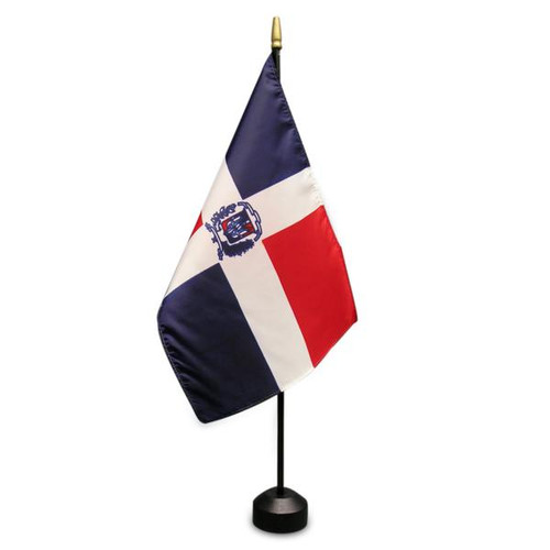 """Dominican Republic 8"""" x 12"""" Stick Flag With Seal"""