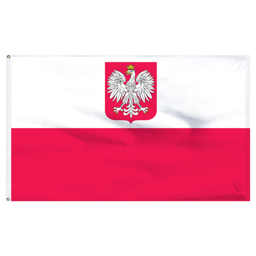 "Poland 12"" x 18"" Nylon Flag With Eagle"