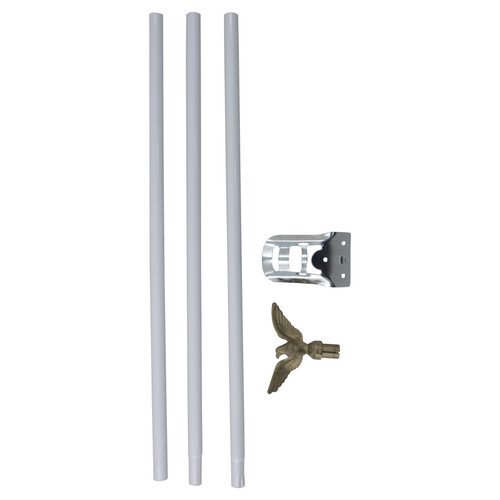 Residential Flagpole Set w/ 6' white pole
