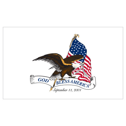 God Bless America September 11th Flag 3ft x 5ft Nylon