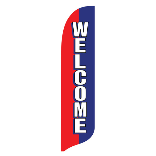 Outdoor Advertising Blade Flag - Welcome