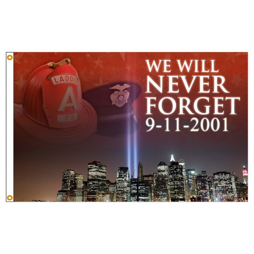 3ft x 5ft Decorative Flag - We Will Never Forget 9 - 11