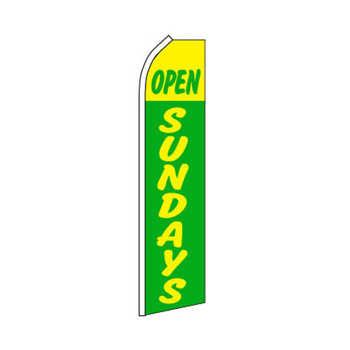 Open Sundays Swooper Flag - Green & Yellow