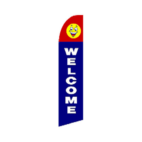 Welcome Swooper Flag  - Happy Face