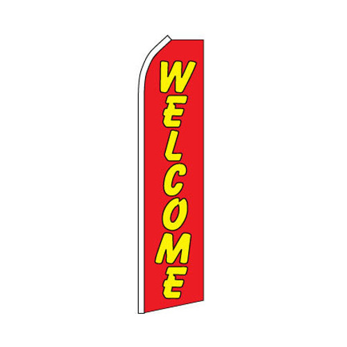 Welcome Swooper Flag - Red & Yellow