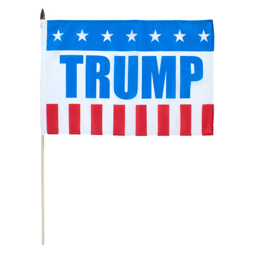"Patriotic Trump Flag 12"" x 18"" Stick Flag"