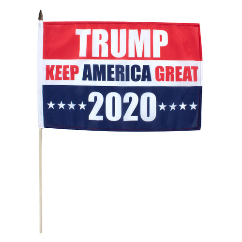 "Trump Keep America Great 2020 12"" x 18"" Stick Flag"