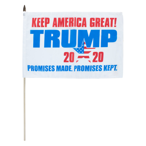 "2020 Trump Promises Made Promises Kept 12"" x 18"" Stick Flag"
