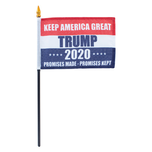 "Promises Made Promises Kept 2020 Trump  4"" x 6"" Stick Flag"