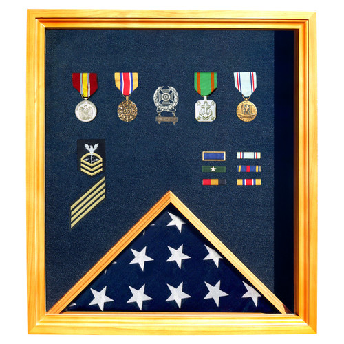 Oak Medal and Flag Display Case