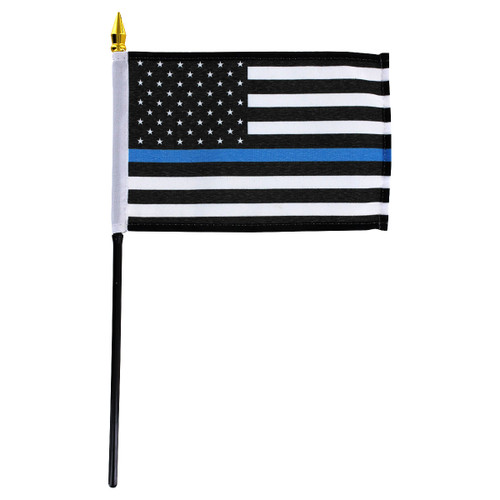 Thin Blue Line American Flag 4in x 6in Stick Flag