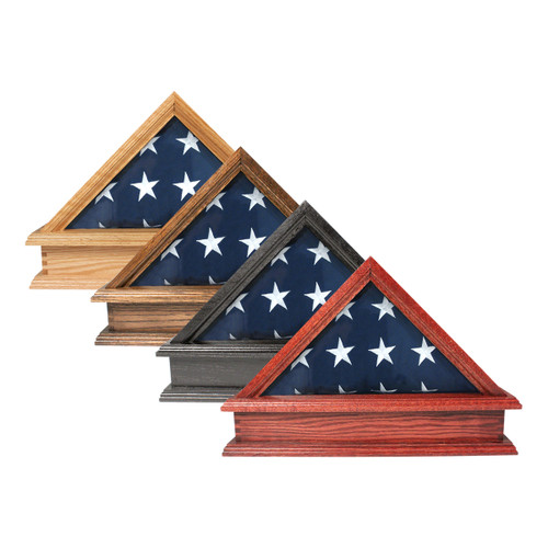 Solid Oak Flag Case & Pedestal for 3' x 5' Flag - US Made