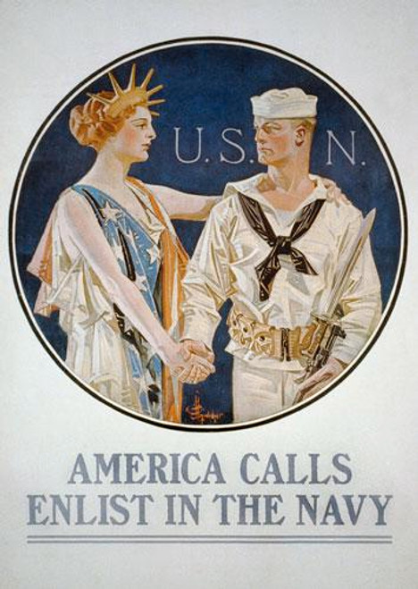 America Calls - Enlist in the Navy Poster Art - Downloadable Image