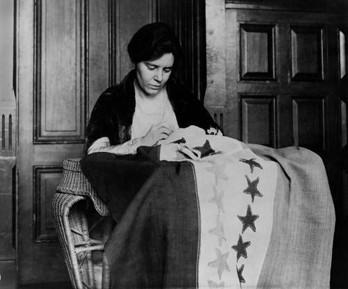 Alice Paul Sewing Suffrage Flag - Downloadable Image