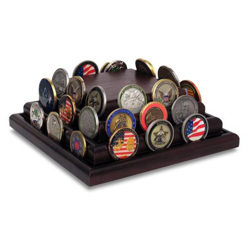 Walnut Challenge Coin Case - Pyramid