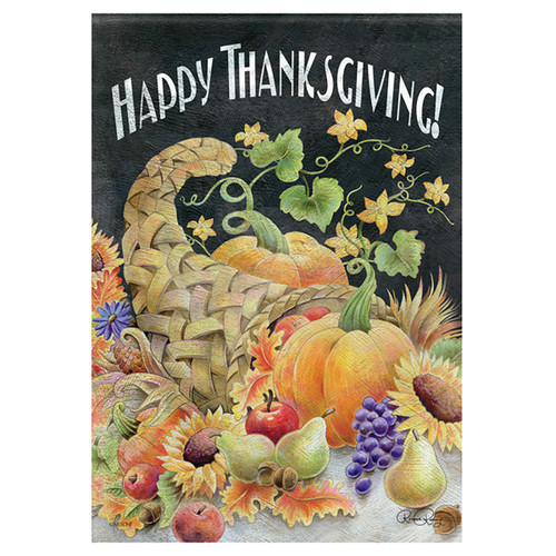 Carson Thanksgiving Garden Flag - Chalkboard Cornucopia