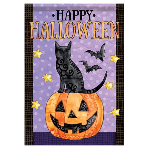 Carson Halloween Garden Flag - Spooky Cats and Bats