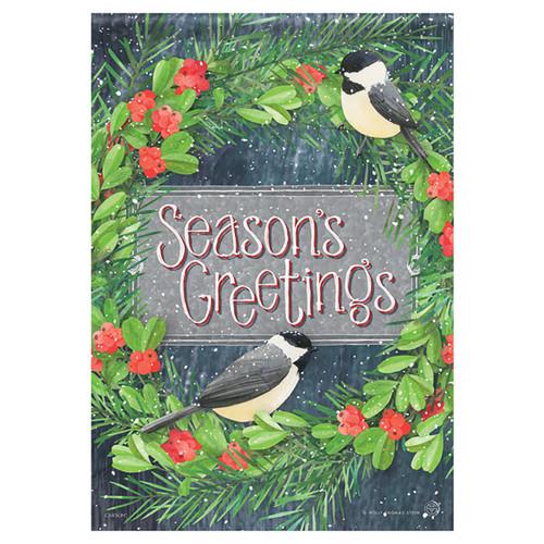 Carson Christmas Glittered Garden Flag - Chickadee Greetings