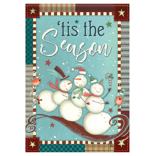 Carson Christmas Garden Flag - Playful Snowmen