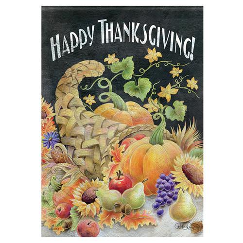 Carson Thanksgiving Banner Flag - Chalkboard Cornucopia