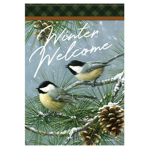 Carson Winter Banner Flag - Chickadees and Pine
