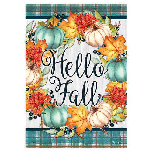 Carson Fall Banner Flag - Hello Fall Wreath