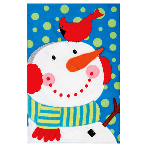 Christmas Applique Garden Flag - Snowman Cardinal